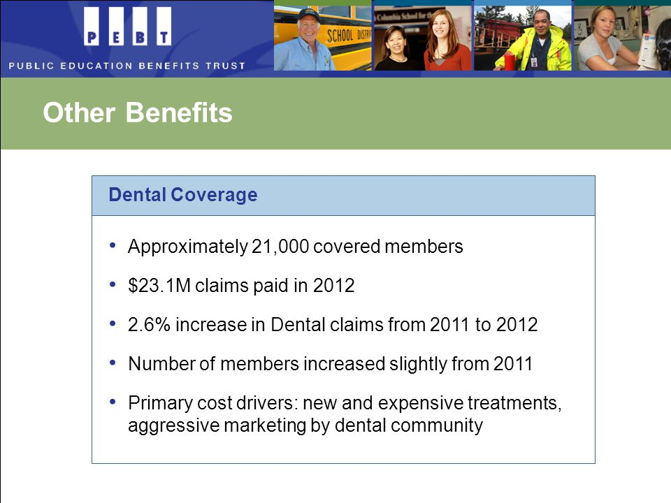 Other Benefits Approximately 21,000 covered members $23.1M claims paid in 2012 2.6% increase in Dental claims from 2011 to 2012 Number of members increased slightly from 2011 Primary cost drivers: new and expensive treatments, aggressive marketing by dental community Dental Coverage