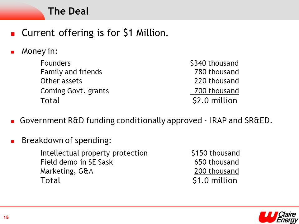 The Deal Current offering is for $1 Million.