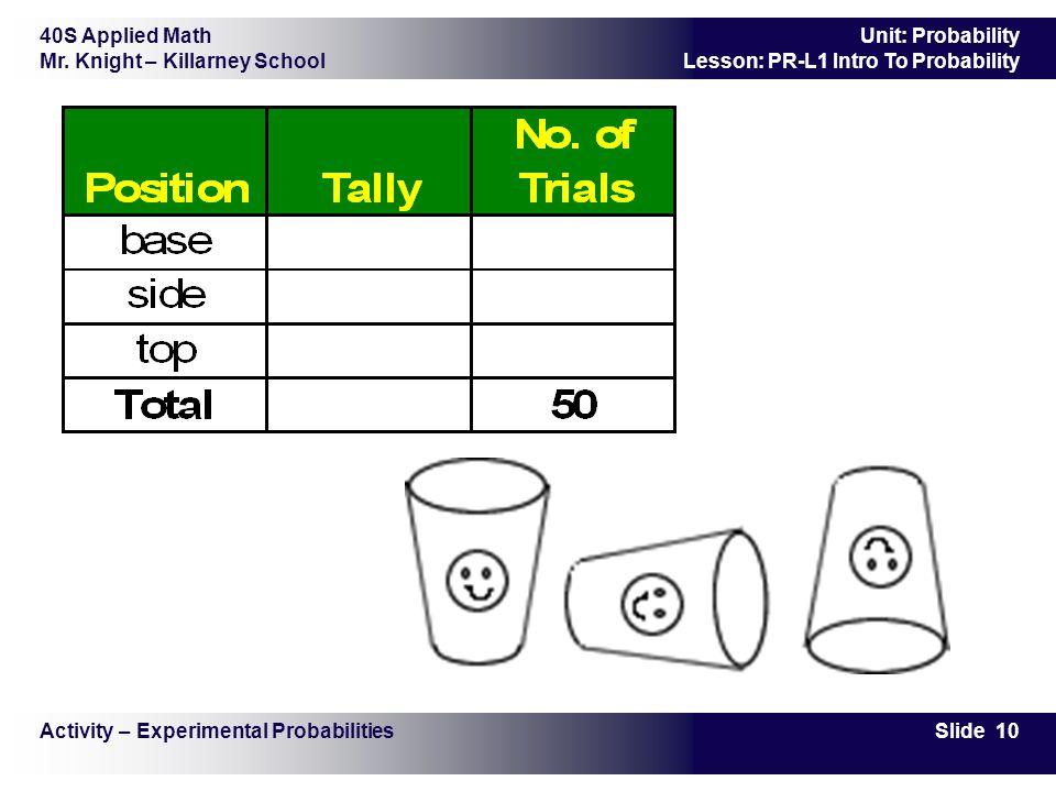 40S Applied Math Mr. Knight – Killarney School Slide 10 Unit: Probability Lesson: PR-L1 Intro To Probability Activity – Experimental Probabilities