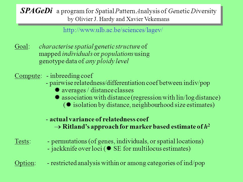 SPAGeDi a program for Spatial Pattern Analysis of Genetic Diversity by Olivier J. Hardy and Xavier Vekemans SPAGeDi a program for Spatial Pattern Anal