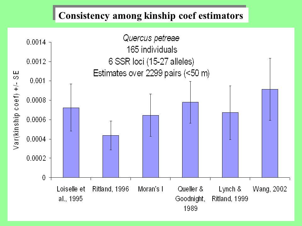 Consistency among kinship coef estimators