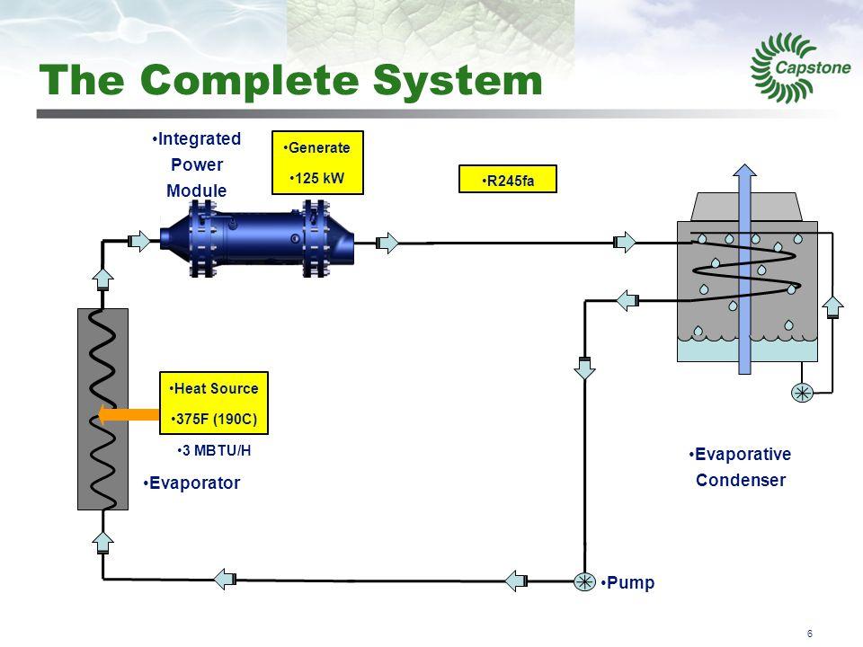 7 How it Works - 1 Integrated Power Module Evaporativ e Condenser Receiver Economizer Evaporator Liquid 85F (29C) 230psig (16bar) Heat Source 375F (190C) 3 MBTU/H Generate 125 kW Liquid 85F (29C) 26psig (1.8bar) R245fa Pump The working fluid is in the receiver as a liquid at the condensing pressure and temperature.