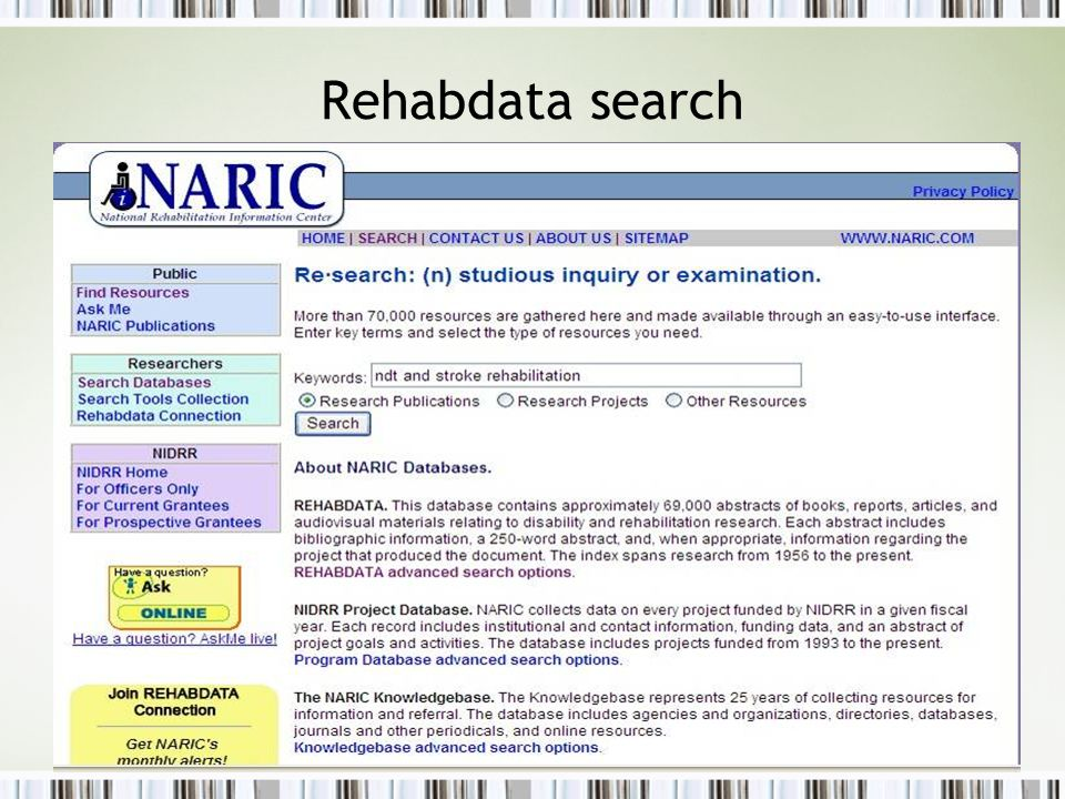 HSL Instruction | Searching the PT Literature | October 31, 2007 Rehabdata search