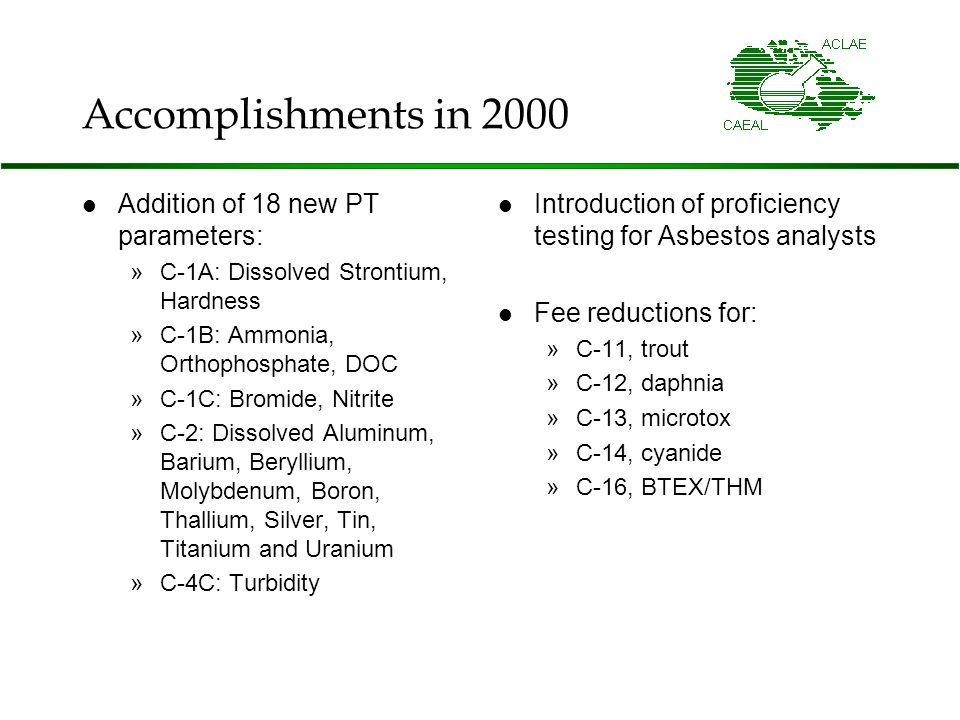 Accomplishments in 2000 Addition of 18 new PT parameters: »C-1A: Dissolved Strontium, Hardness »C-1B: Ammonia, Orthophosphate, DOC »C-1C: Bromide, Nitrite »C-2: Dissolved Aluminum, Barium, Beryllium, Molybdenum, Boron, Thallium, Silver, Tin, Titanium and Uranium »C-4C: Turbidity Introduction of proficiency testing for Asbestos analysts Fee reductions for: »C-11, trout »C-12, daphnia »C-13, microtox »C-14, cyanide »C-16, BTEX/THM