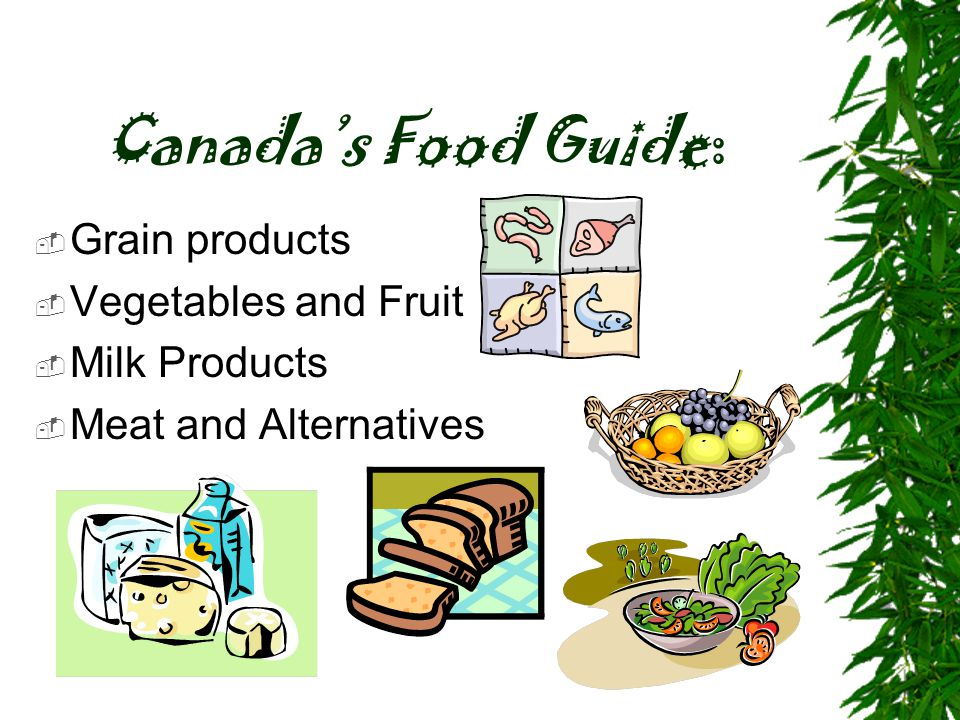 Canada's Food Guide:  Grain products  Vegetables and Fruit  Milk Products  Meat and Alternatives
