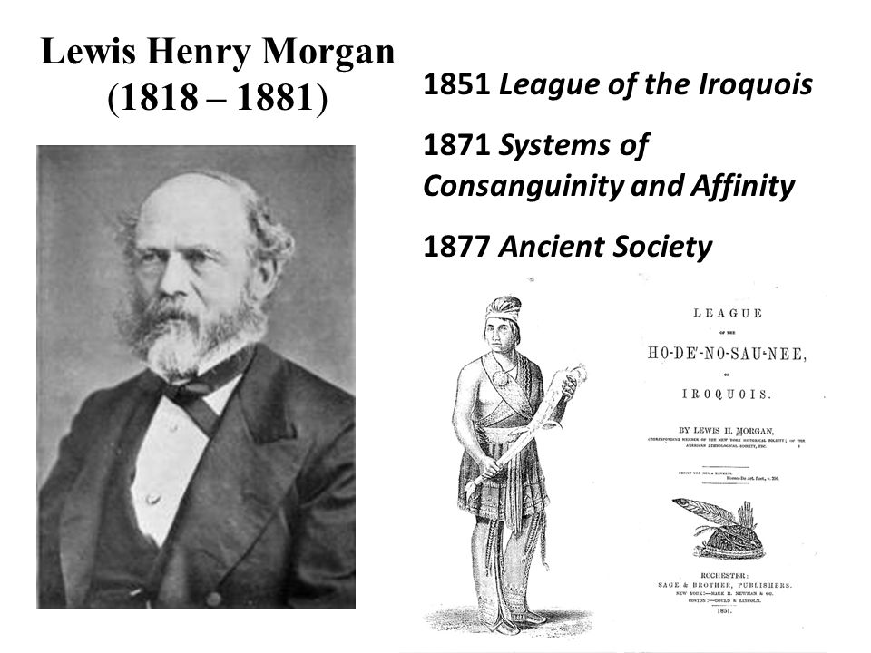 Lewis Henry Morgan (1818 – 1881) 1851 League of the Iroquois 1871 Systems of Consanguinity and Affinity 1877 Ancient Society