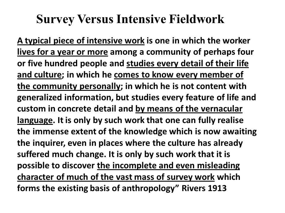 A typical piece of intensive work is one in which the worker lives for a year or more among a community of perhaps four or five hundred people and stu