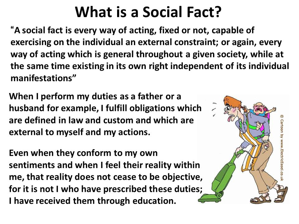 """What is a Social Fact? """"A social fact is every way of acting, fixed or not, capable of exercising on the individual an external constraint; or again,"""