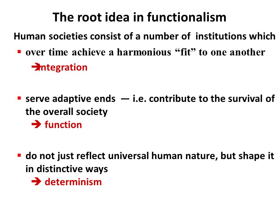 """Human societies consist of a number of institutions which  over time achieve a harmonious """"fit"""" to one another  Integration  serve adaptive ends —"""