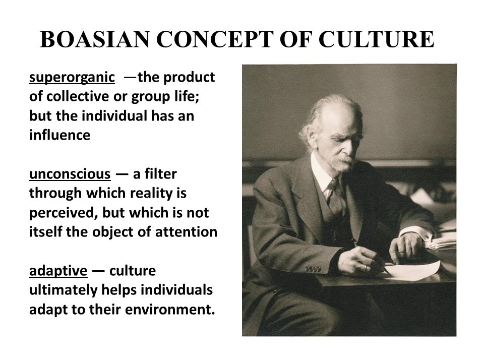 BOASIAN CONCEPT OF CULTURE superorganic —the product of collective or group life; but the individual has an influence unconscious — a filter through w