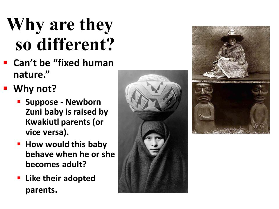 """Why are they so different?  Can't be """"fixed human nature.""""  Why not?  Suppose - Newborn Zuni baby is raised by Kwakiutl parents (or vice versa). """