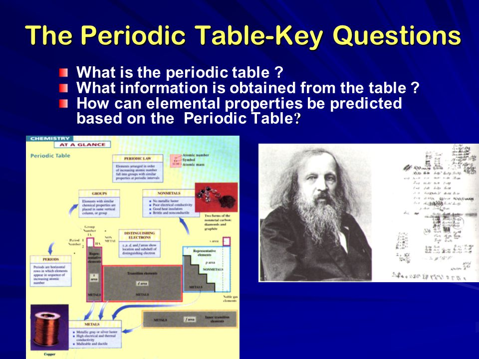 The Periodic Table-Key Questions What is the periodic table ? What information is obtained from the table ? ? How can elemental properties be predicte