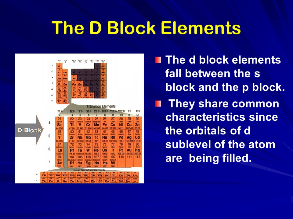 The D Block Elements The d block elements fall between the s block and the p block. They share common characteristics since the orbitals of d sublevel