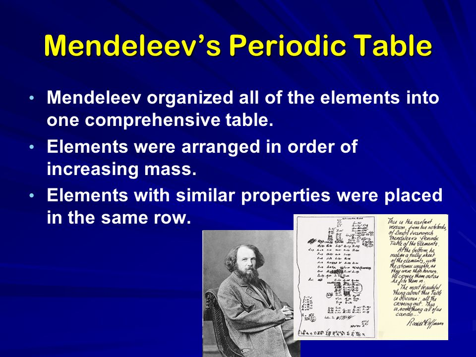 Mendeleev's Periodic Table Mendeleev organized all of the elements into one comprehensive table. Elements were arranged in order of increasing mass. E