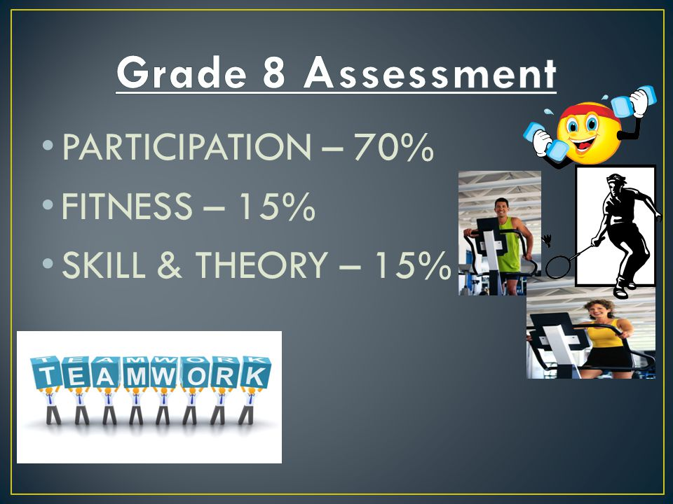 PARTICIPATION – 70% FITNESS – 15% SKILL & THEORY – 15%