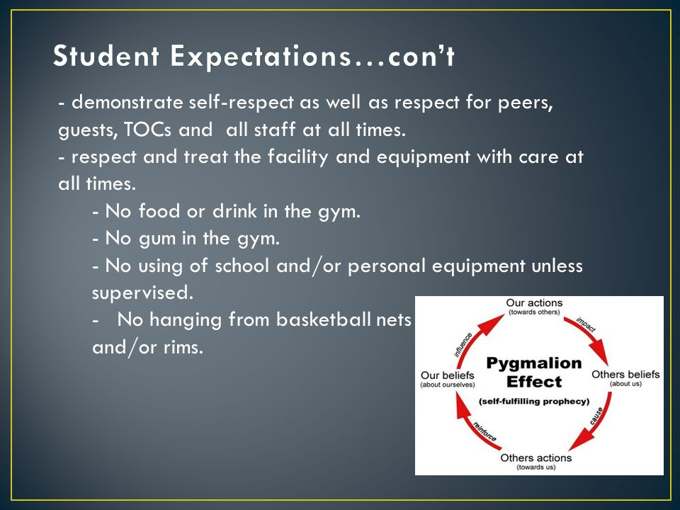 - demonstrate self-respect as well as respect for peers, guests, TOCs and all staff at all times.