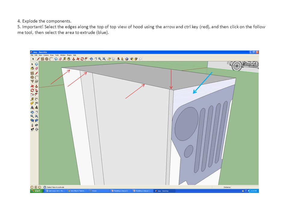4. Explode the components. 5. Important! Select the edges along the top of top view of hood using the arrow and ctrl key (red), and then click on the