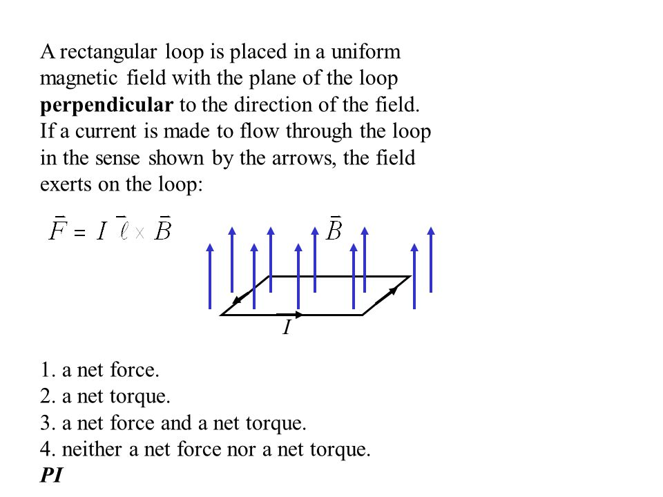A rectangular loop is placed in a uniform magnetic field with the plane of the loop perpendicular to the direction of the field. If a current is made