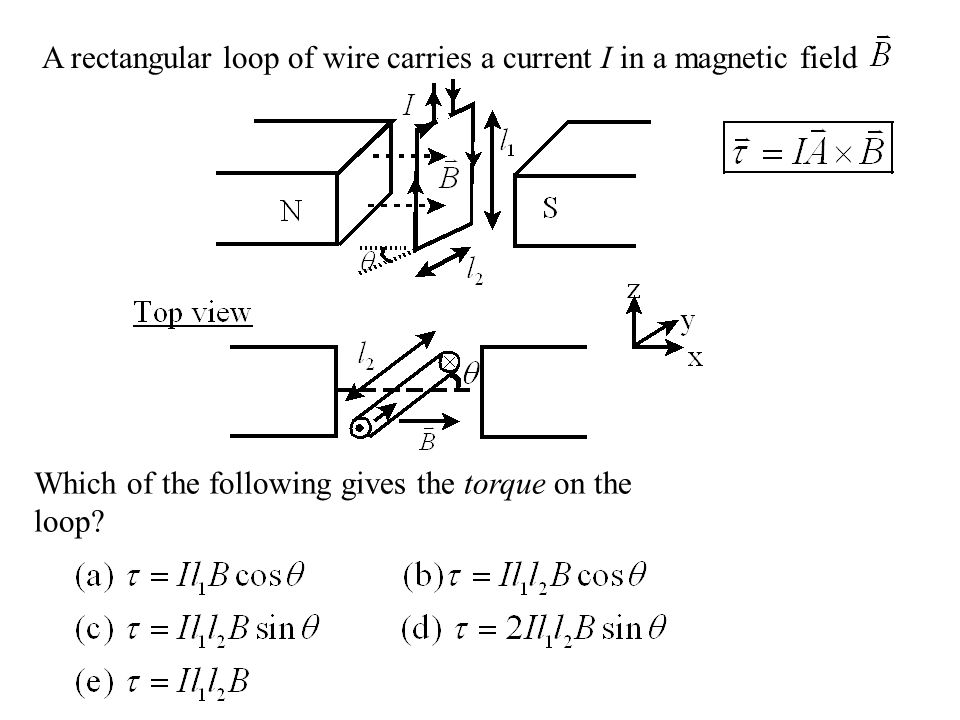 A rectangular loop of wire carries a current I in a magnetic field Which of the following gives the torque on the loop?