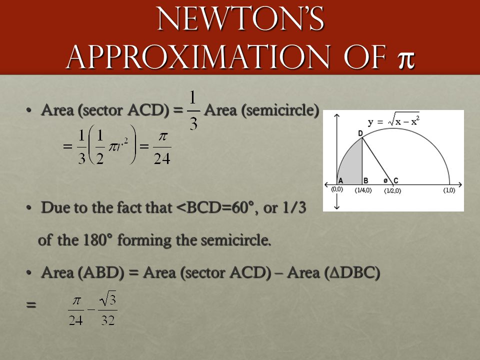 Newton's Approximation of π Area (sector ACD) = Area (semicircle)Area (sector ACD) = Area (semicircle) Due to the fact that <BCD=60°, or 1/3Due to the