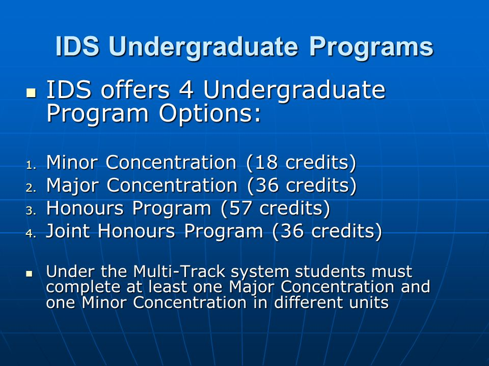 IDS Undergraduate Programs IDS offers 4 Undergraduate Program Options: IDS offers 4 Undergraduate Program Options: 1.