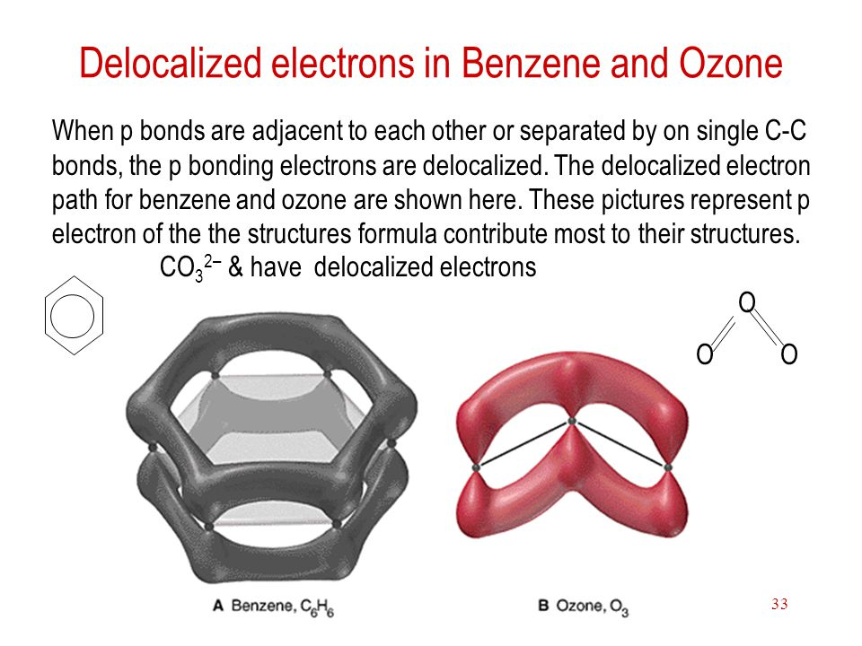 Theories of chemical bonding33 Delocalized electrons in Benzene and Ozone When p bonds are adjacent to each other or separated by on single C-C bonds,