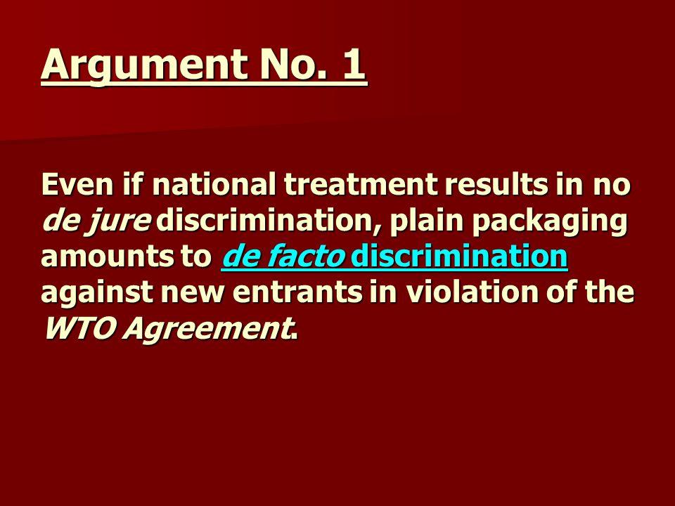 Rebuttal if de facto discrim., saved by the WTO Art.