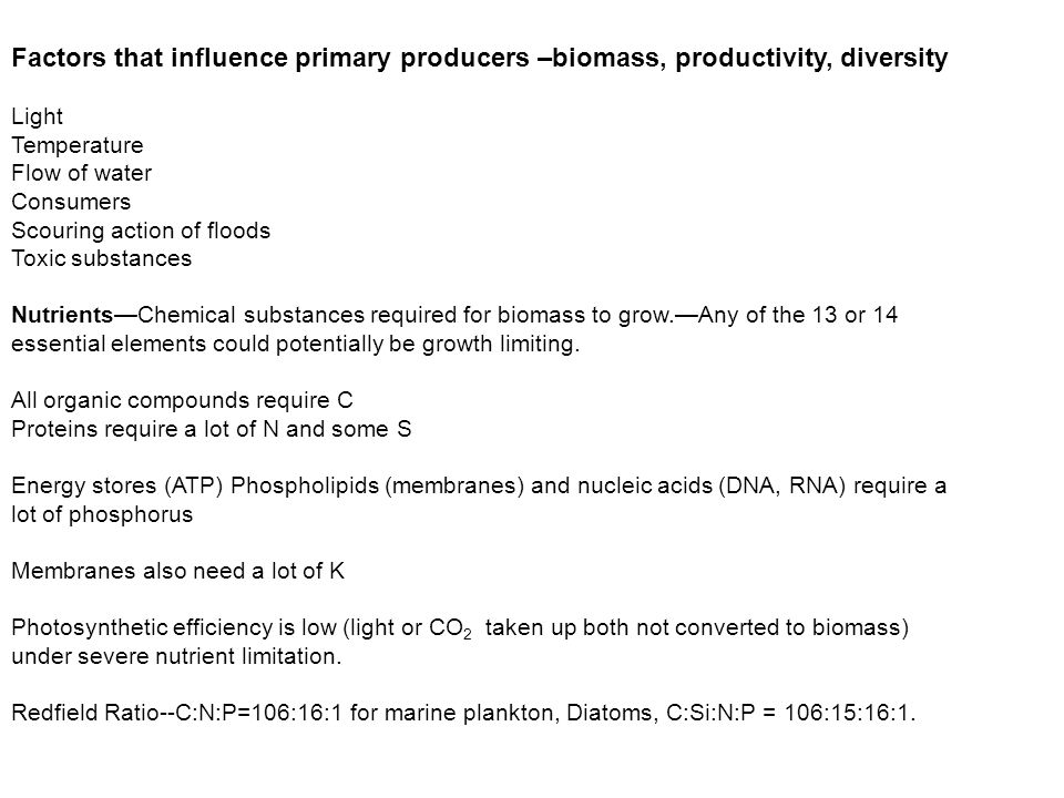 Factors that influence primary producers –biomass, productivity, diversity Light Temperature Flow of water Consumers Scouring action of floods Toxic substances Nutrients—Chemical substances required for biomass to grow.—Any of the 13 or 14 essential elements could potentially be growth limiting.