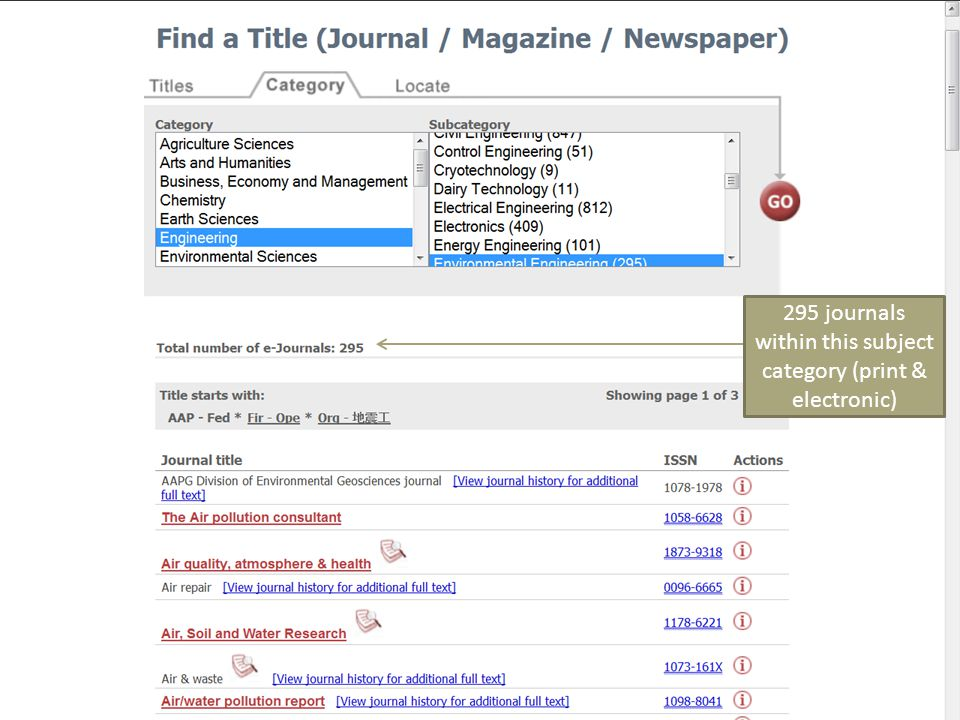 295 journals within this subject category (print & electronic)