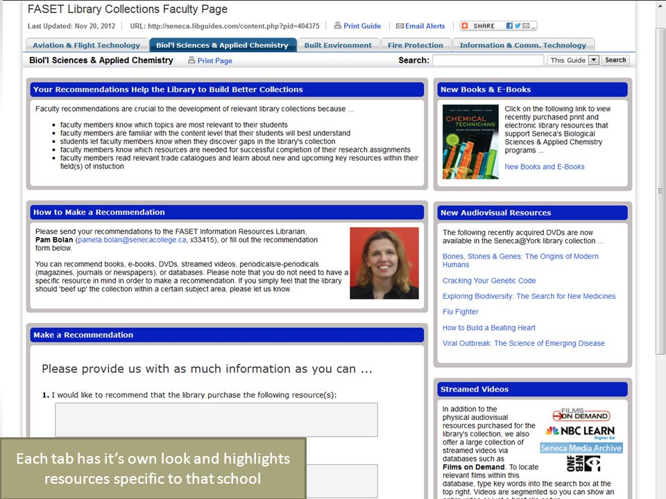 Each tab has it's own look and highlights resources specific to that school