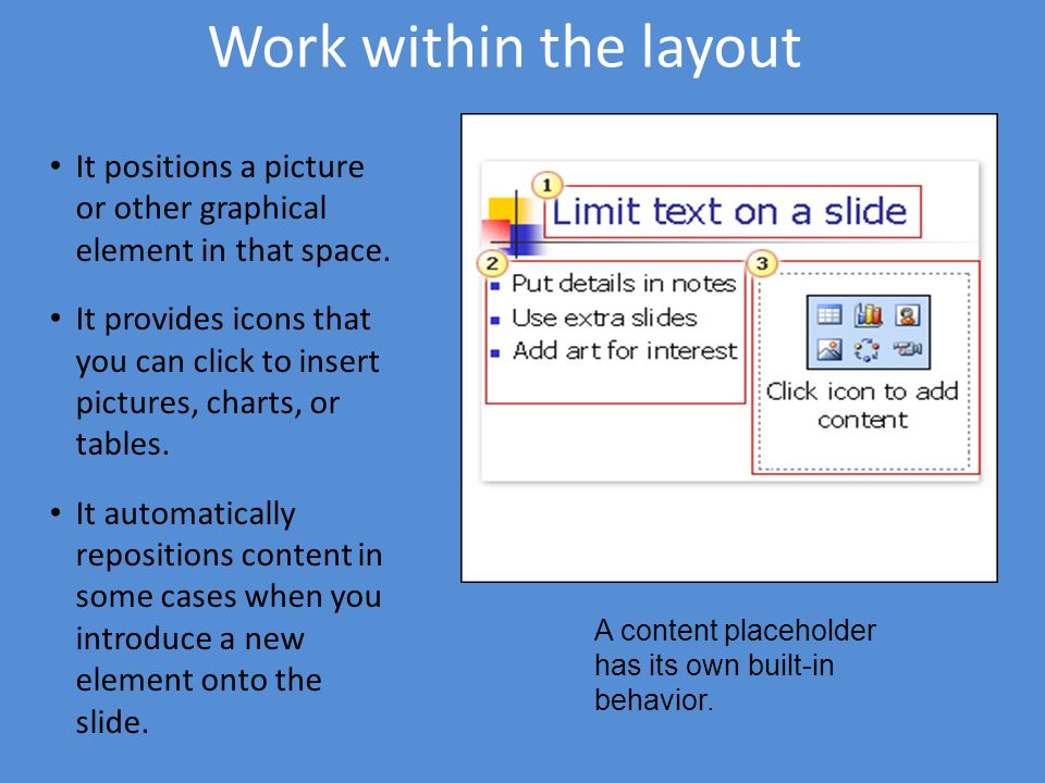 Work within the layout It positions a picture or other graphical element in that space. It provides icons that you can click to insert pictures, chart