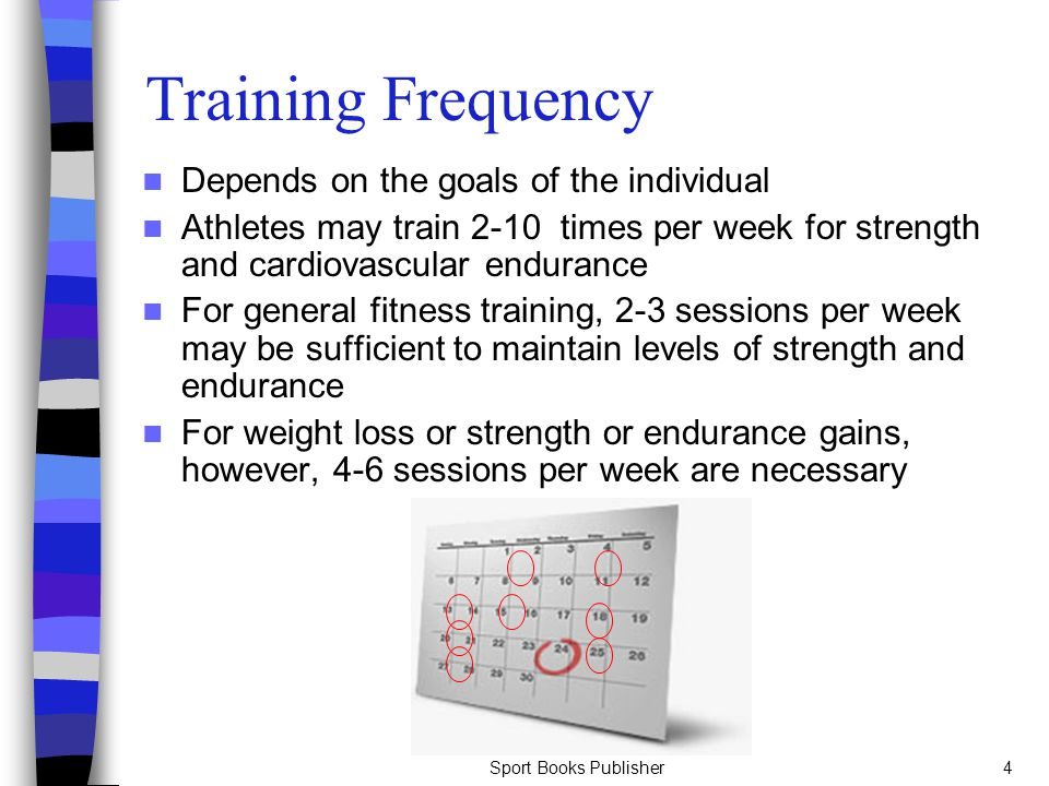 Sport Books Publisher4 Training Frequency Depends on the goals of the individual Athletes may train 2-10 times per week for strength and cardiovascula
