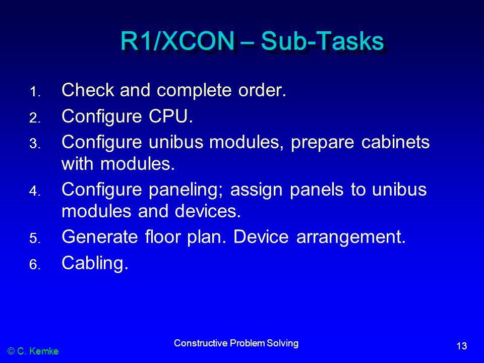 © C. Kemke Constructive Problem Solving 13 R1/XCON – Sub-Tasks 1. Check and complete order. 2. Configure CPU. 3. Configure unibus modules, prepare cab