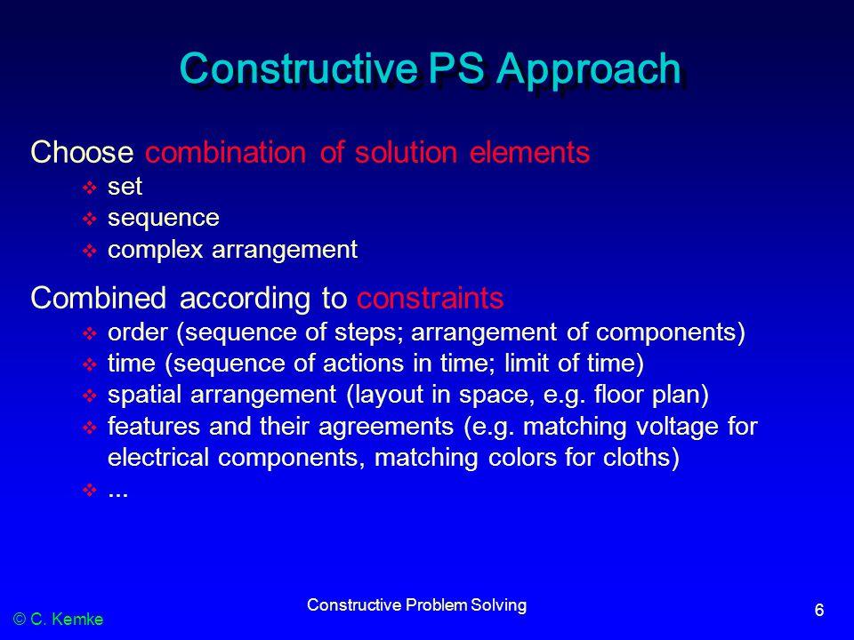 © C. Kemke Constructive Problem Solving 6 Constructive PS Approach Choose combination of solution elements  set  sequence  complex arrangement Comb