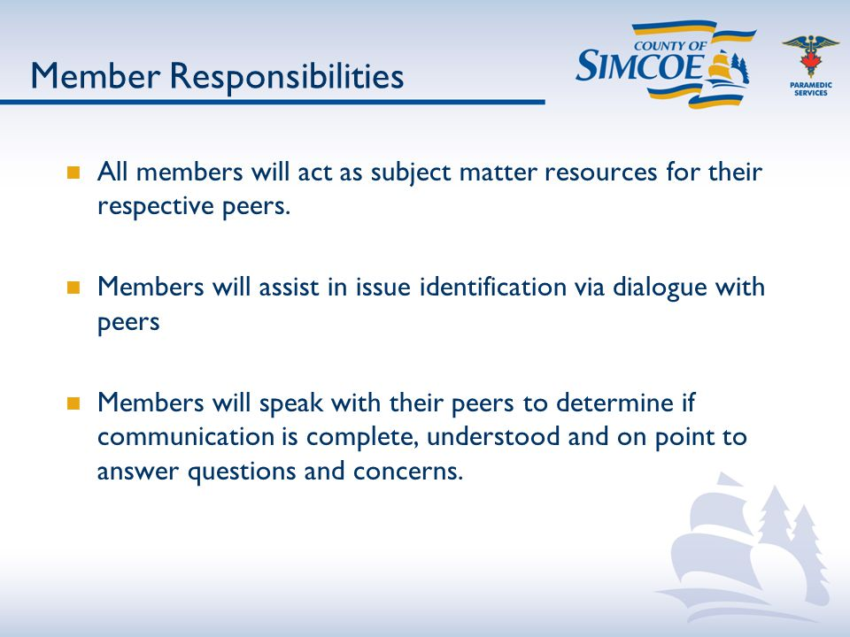 Member Responsibilities All members will act as subject matter resources for their respective peers.