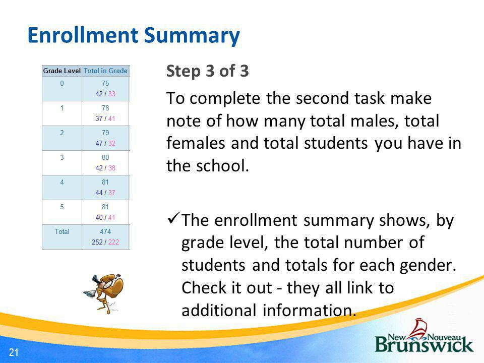 Enrollment Summary Step 3 of 3 To complete the second task make note of how many total males, total females and total students you have in the school.