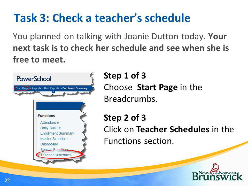 Task 3: Check a teacher's schedule You planned on talking with Joanie Dutton today. Your next task is to check her schedule and see when she is free t