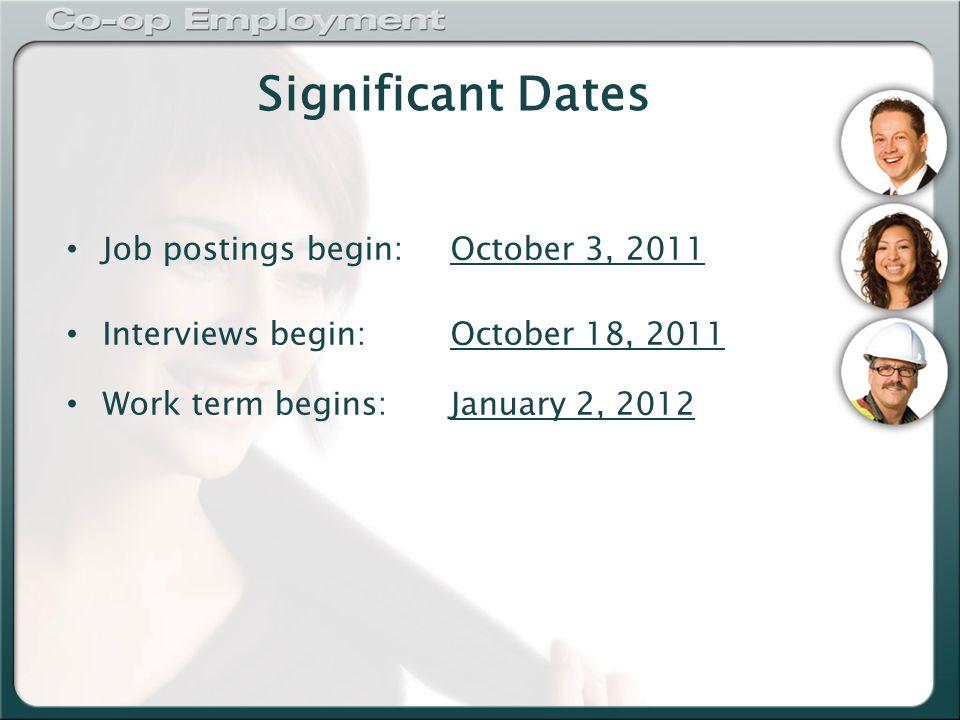 Significant Dates Job postings begin:October 3, 2011 Interviews begin:October 18, 2011 Work term begins:January 2, 2012