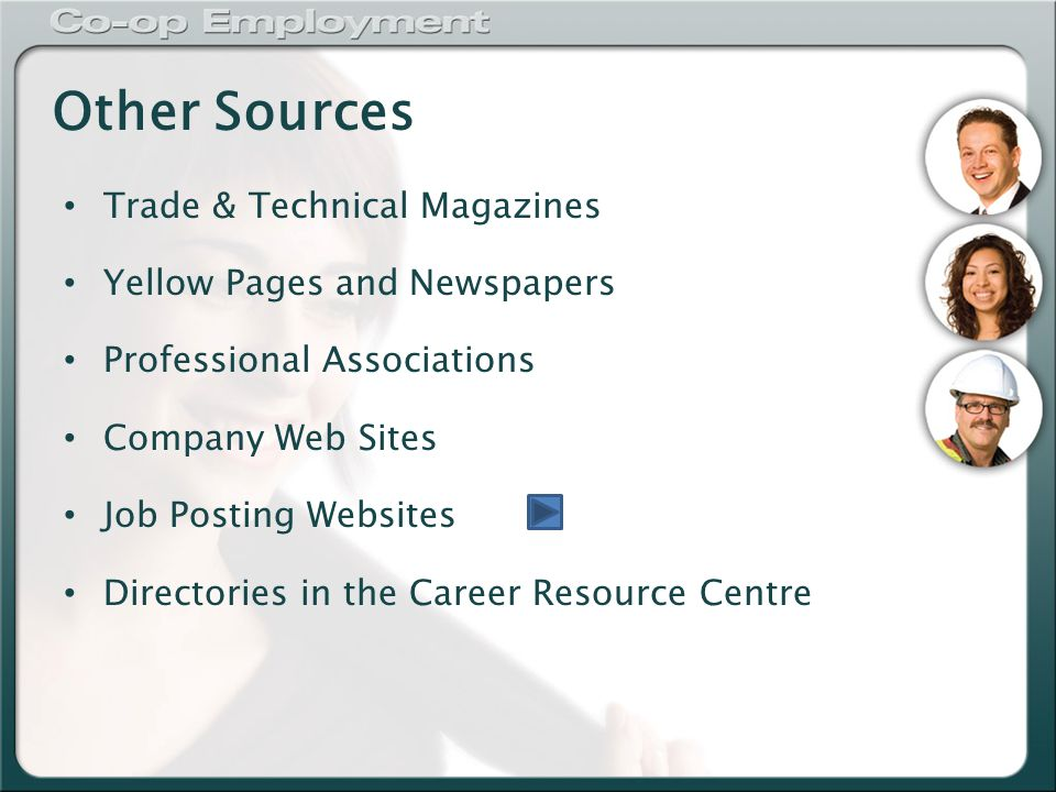 Other Sources Trade & Technical Magazines Yellow Pages and Newspapers Professional Associations Company Web Sites Job Posting Websites Directories in