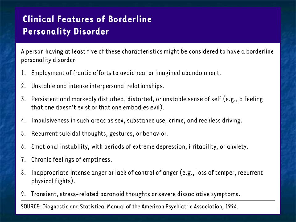 Clinical features of borderline personality disorder