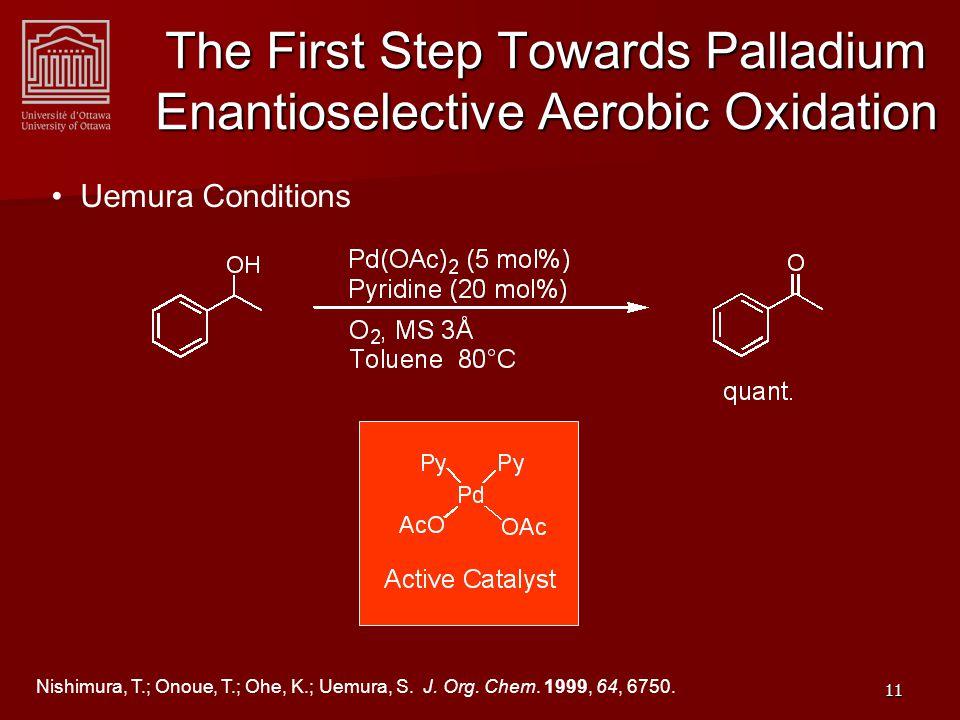 12 First reported Palladium Enantioselective Aerobic Oxidation Sigman, M.