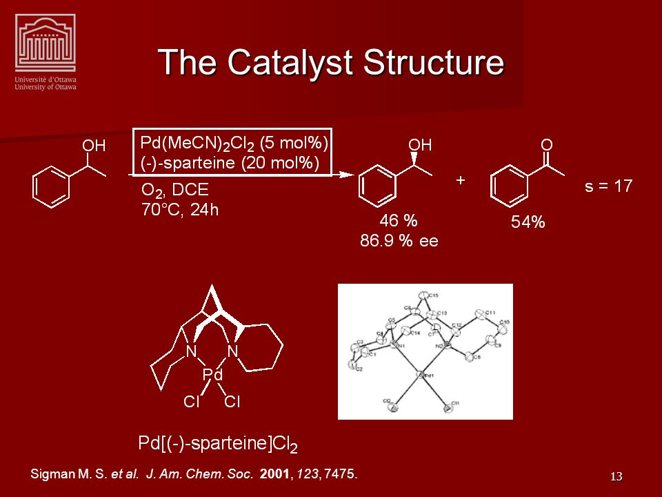 13 The Catalyst Structure Sigman M. S. et al. J. Am. Chem. Soc. 2001, 123, 7475.