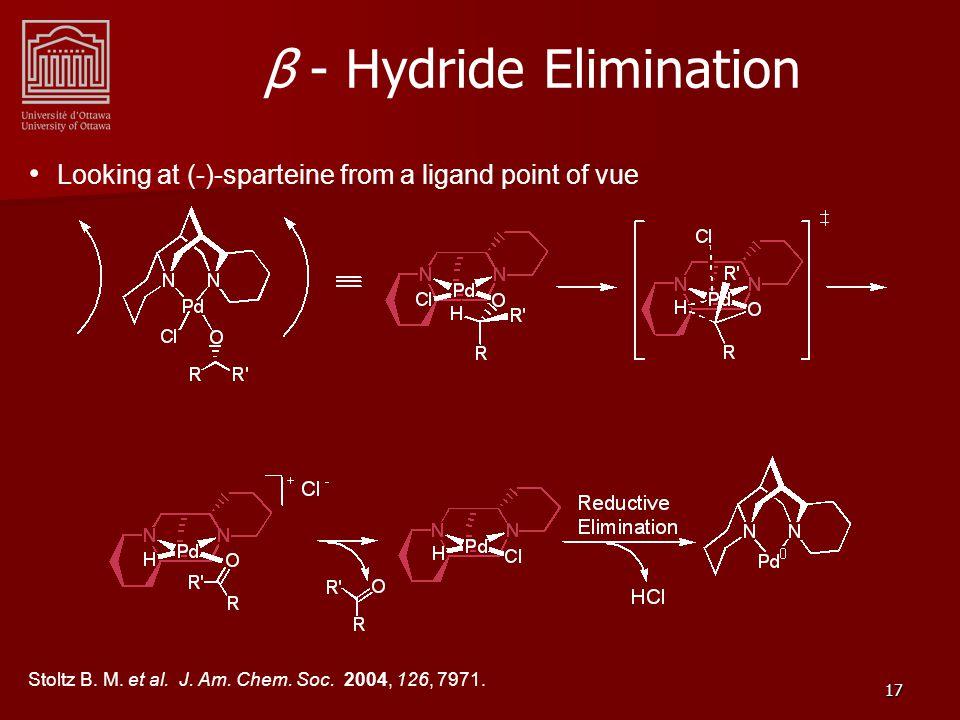 17 β - Hydride Elimination Looking at (-)-sparteine from a ligand point of vue Stoltz B.