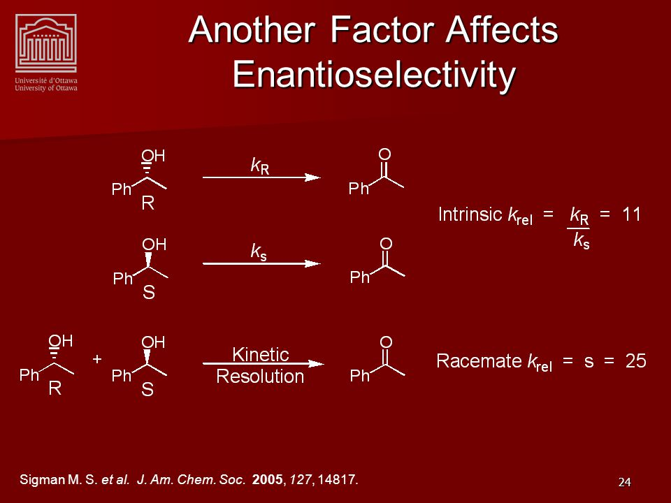 24 Another Factor Affects Enantioselectivity Sigman M.