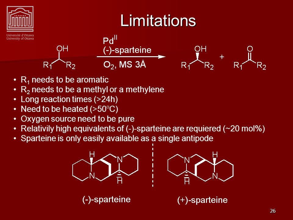 27 (+)-Sparteine Surrogate (+)-sparteine needs resolution to obtained from natural sources Only one total synthesis of (+)-sparteine reported (15 steps, 16% yield) Gram-scale quantities of diamine (+)-1 can be prepared in 3 steps with 79% overall yield.