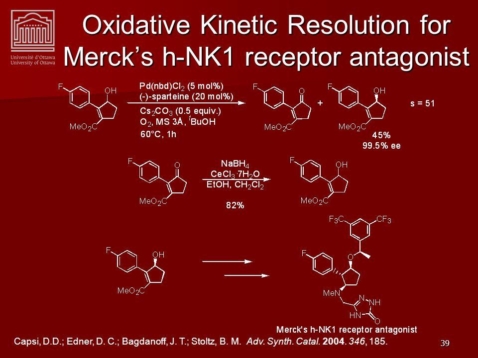39 Oxidative Kinetic Resolution for Merck's h-NK1 receptor antagonist Capsi, D.D.; Edner, D.