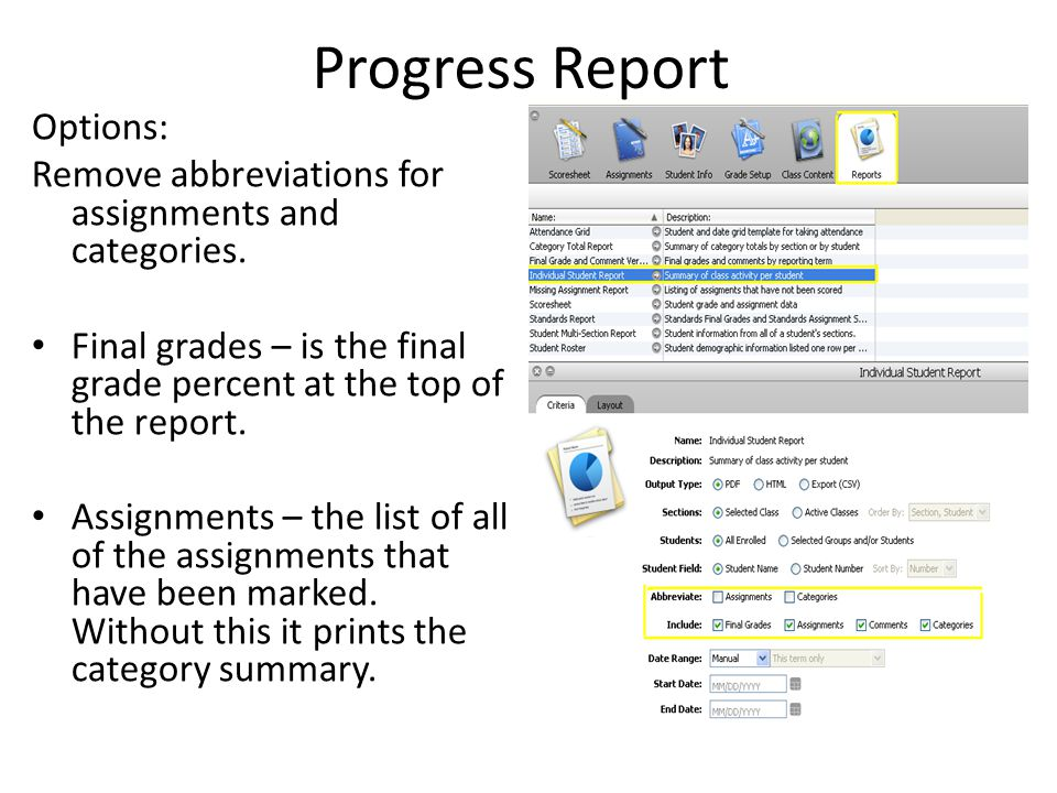 Progress Report Options: Remove abbreviations for assignments and categories.