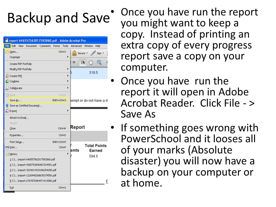 Backup and Save Once you have run the report you might want to keep a copy.