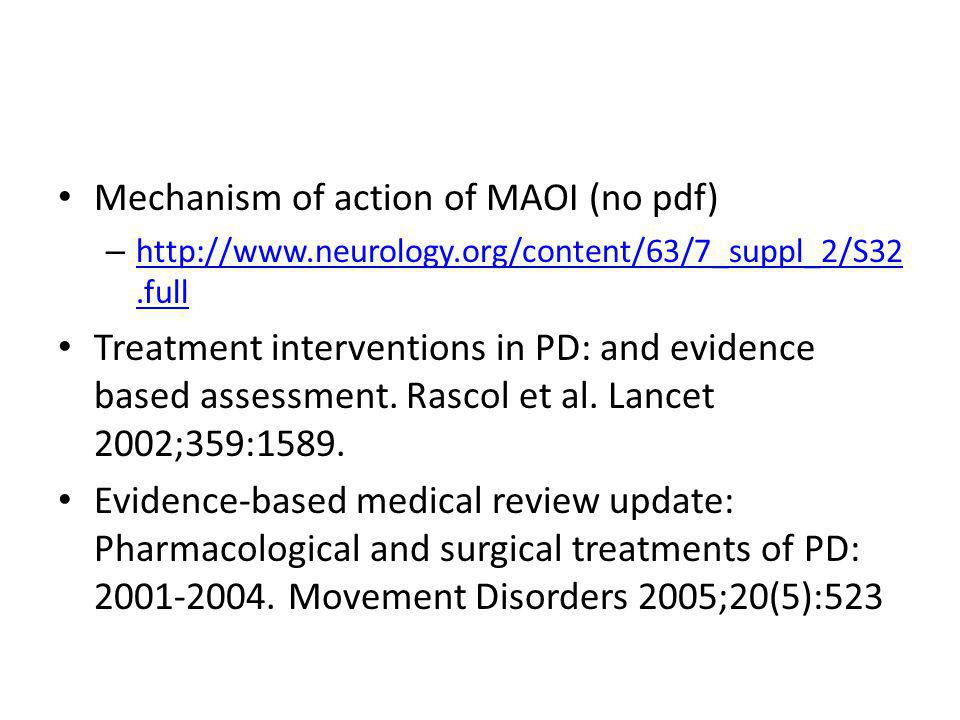 Mechanism of action of MAOI (no pdf) – http://www.neurology.org/content/63/7_suppl_2/S32.full http://www.neurology.org/content/63/7_suppl_2/S32.full T