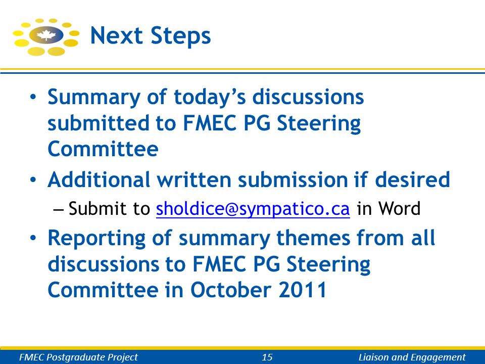 Next Steps Summary of today's discussions submitted to FMEC PG Steering Committee Additional written submission if desired – Submit to sholdice@sympat